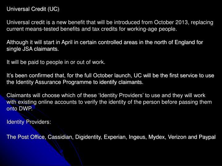 Universal Credit (UC)