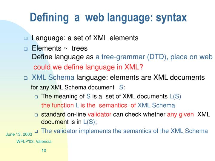 Defining  a  web language: syntax