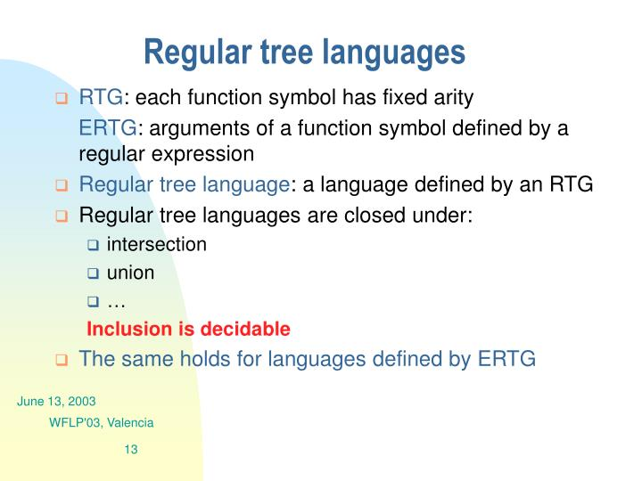 Regular tree languages