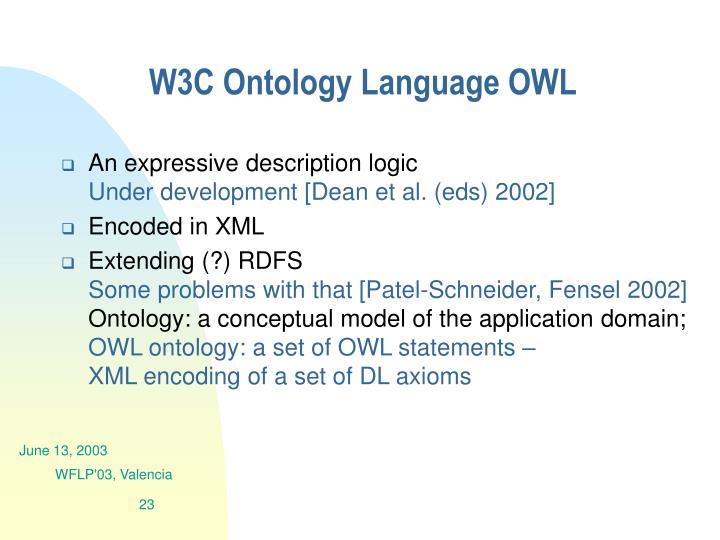 W3C Ontology Language OWL