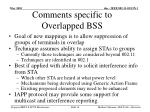 comments specific to overlapped bss