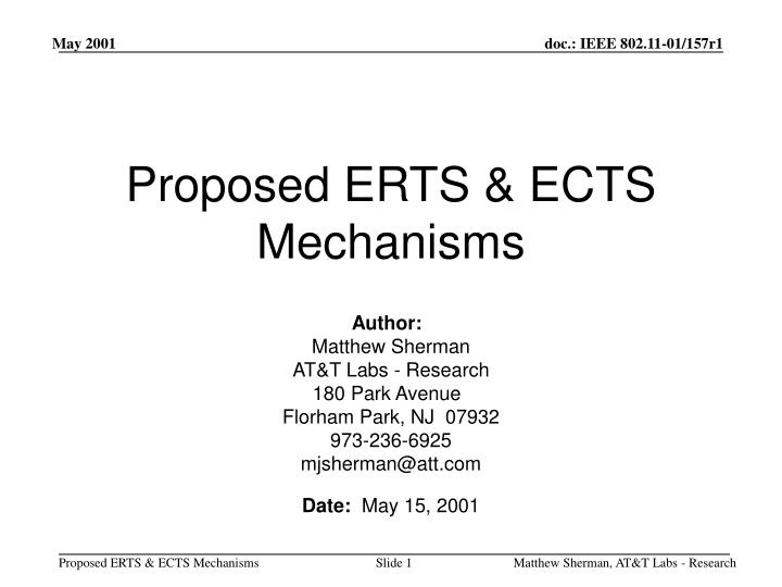 proposed erts ects mechanisms