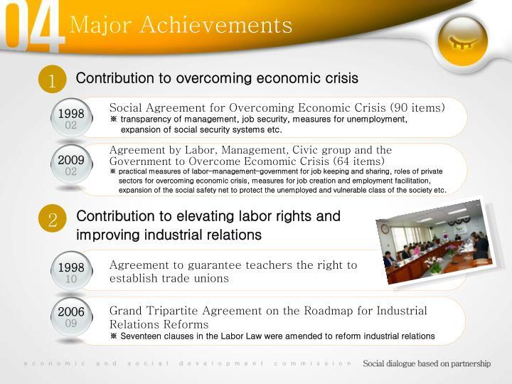 Contribution to overcoming economic crisis