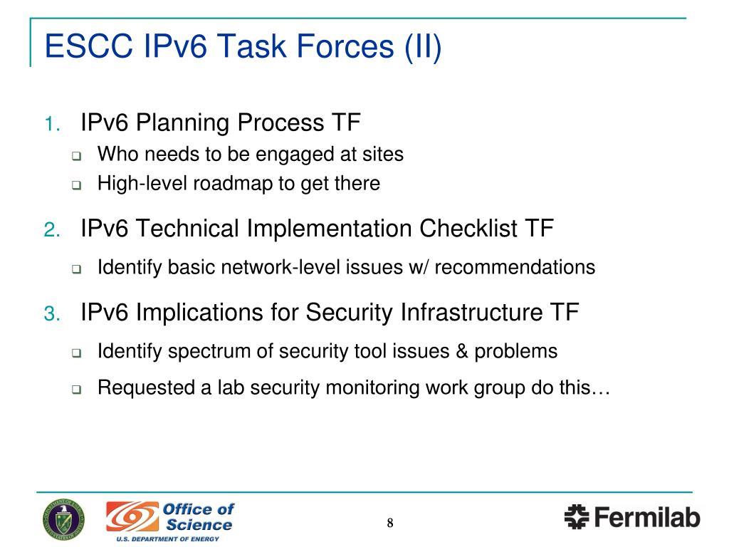 PPT - ESnet Site Coordinators Committee (ESCC): IPv6