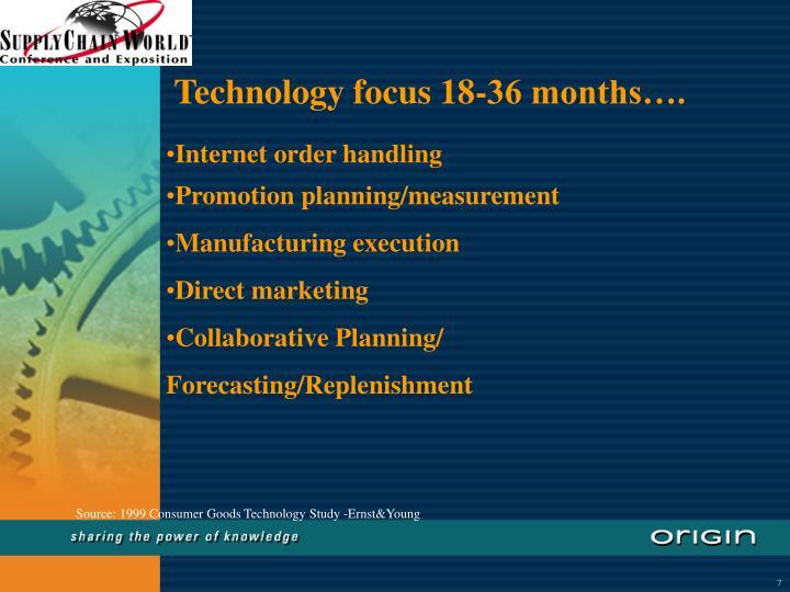 Technology focus 18-36 months….