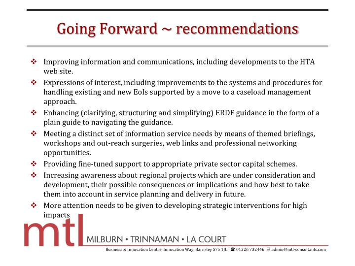 Going Forward ~ recommendations