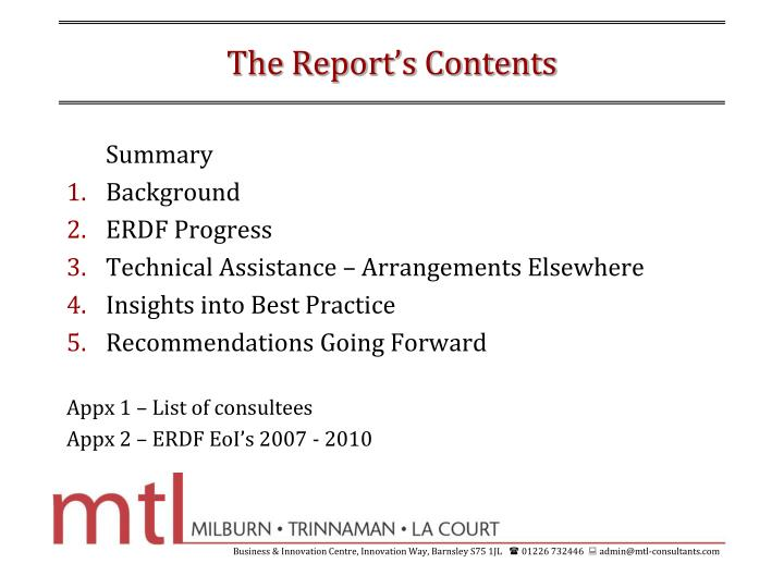 The report s contents