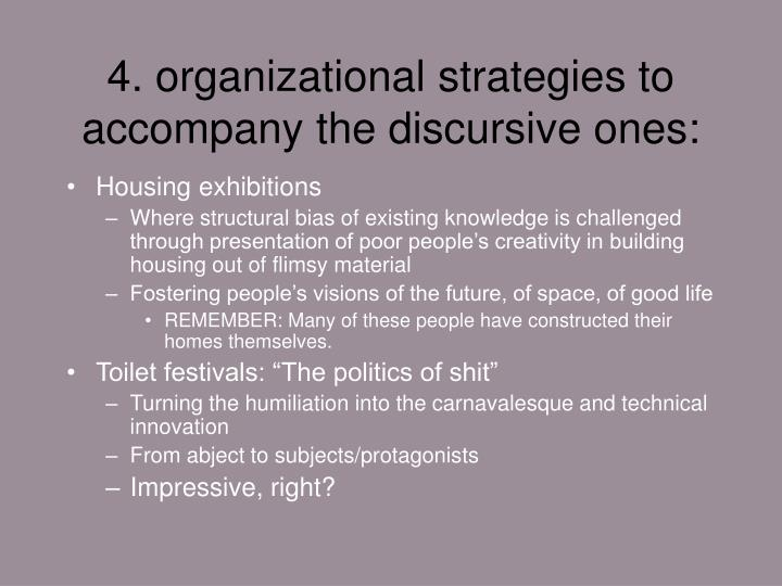 4. organizational strategies to accompany the discursive ones: