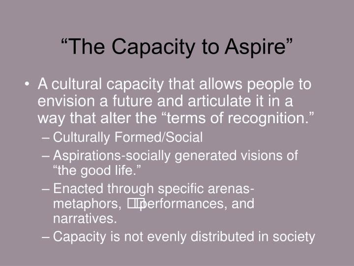 """The Capacity to Aspire"""
