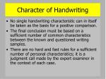 character of handwriting