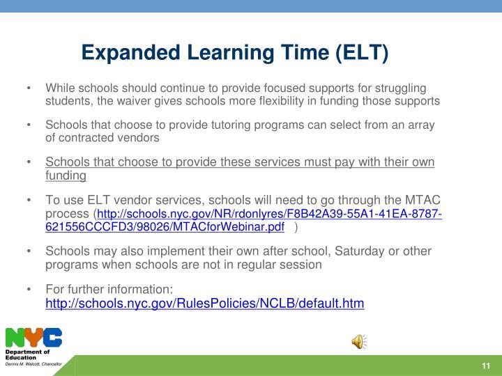 Expanded Learning Time (ELT)
