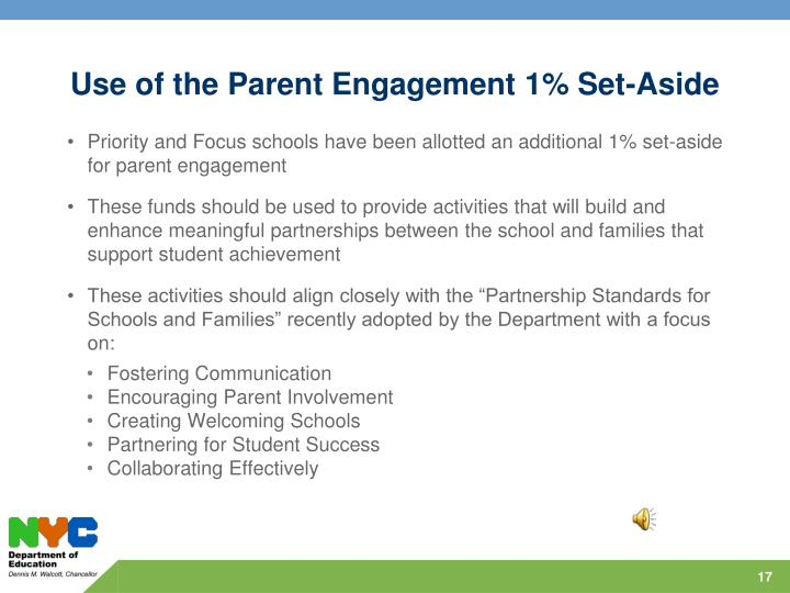 Use of the Parent Engagement 1% Set-Aside