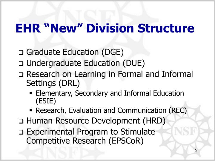 "EHR ""New"" Division Structure"