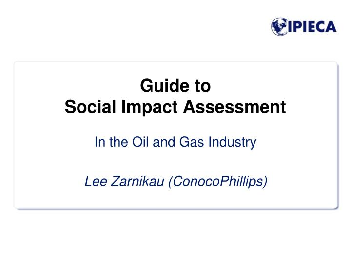 guide to social impact assessment n.
