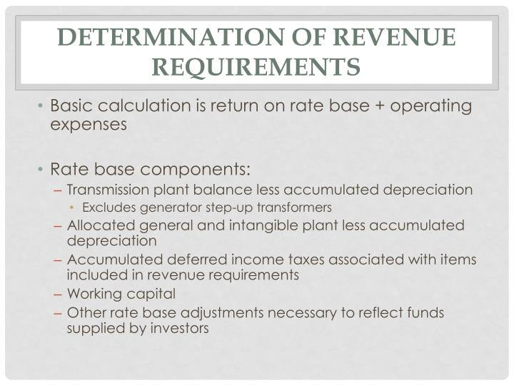 Determination of Revenue Requirements