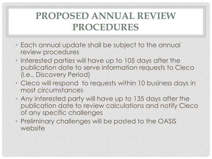 Proposed Annual Review Procedures
