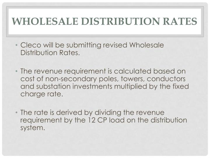 Wholesale Distribution Rates
