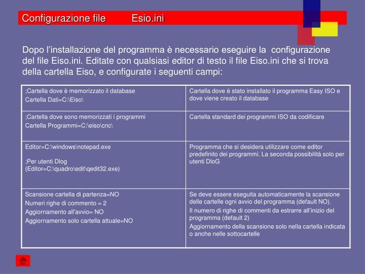 Configurazione file Esio.ini