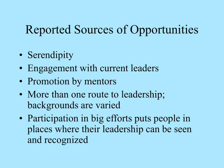 Reported Sources of Opportunities