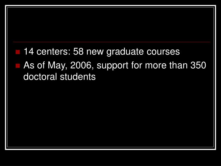14 centers: 58 new graduate courses