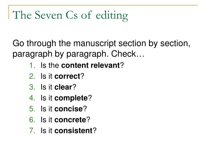 The seven cs of editing1
