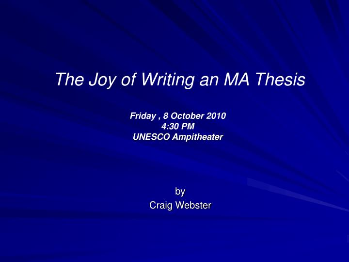 an ma thesis