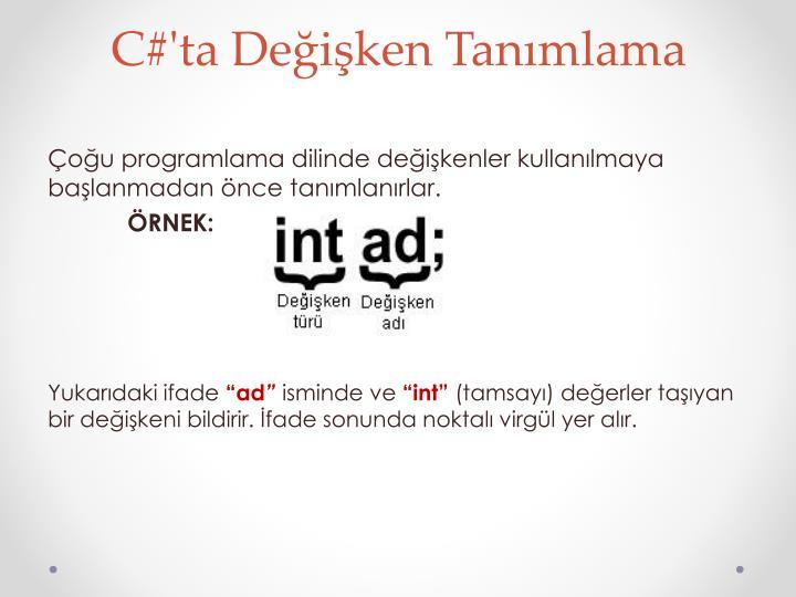 C#'ta