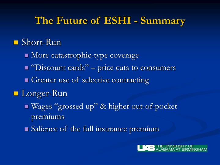 The Future of ESHI - Summary