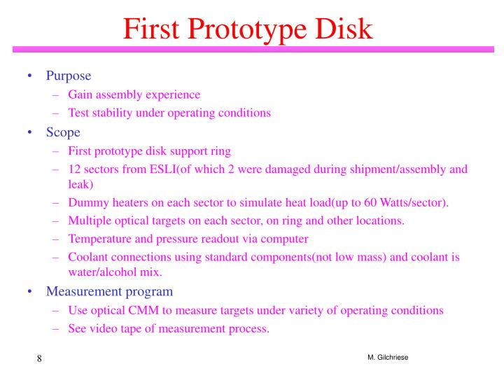 First Prototype Disk