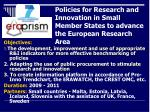 policies for research and innovation in small member states to advance the european research area