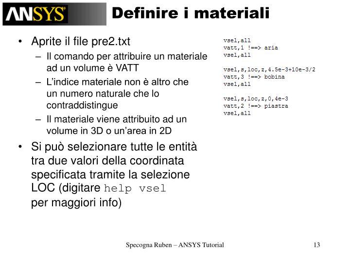 Definire i materiali