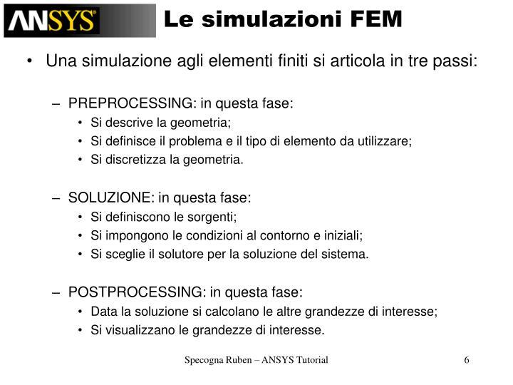 Le simulazioni FEM