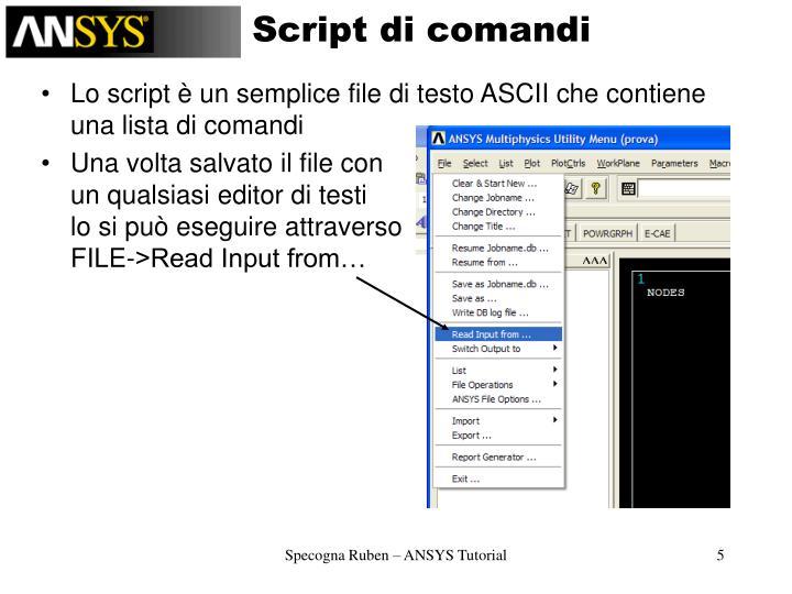 Script di comandi