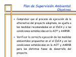 plan de supervisi n ambiental objetivos