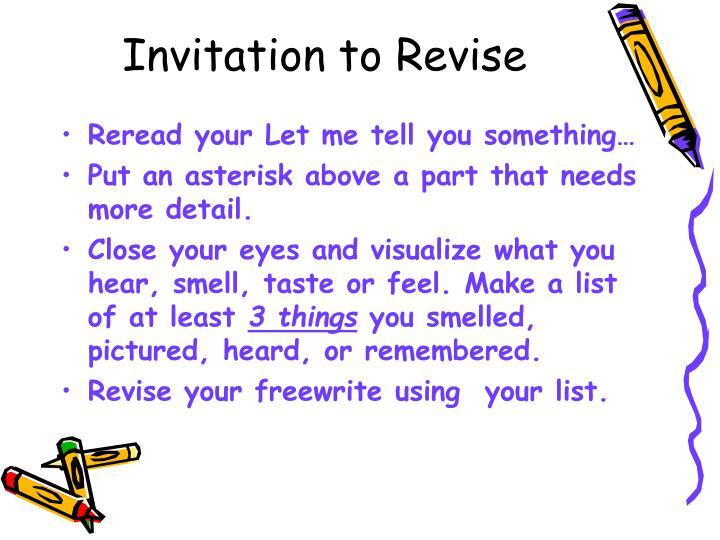 Invitation to Revise
