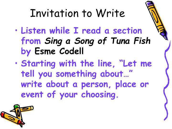 Invitation to Write