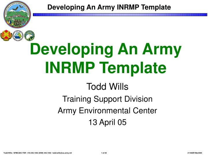 Ppt Developing An Army Inrmp Template Powerpoint
