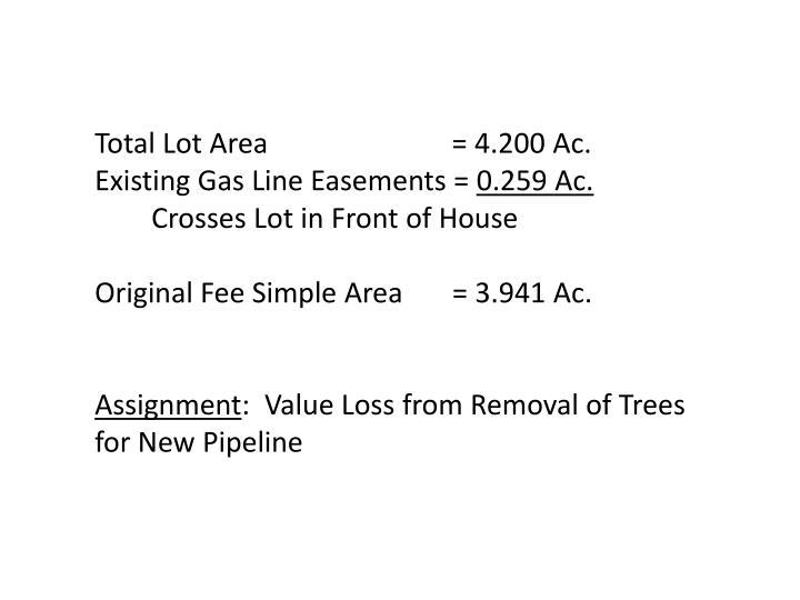 Total Lot Area                          = 4.200 Ac.