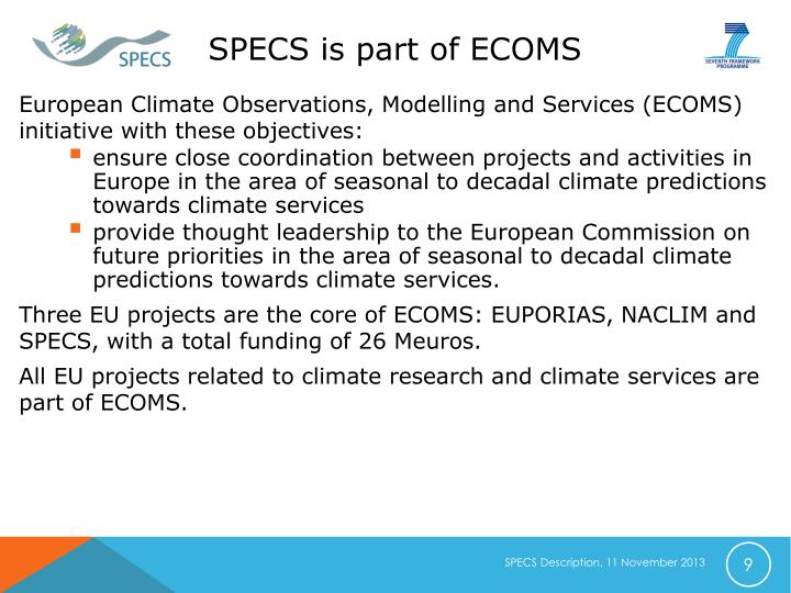 SPECS is part of ECOMS