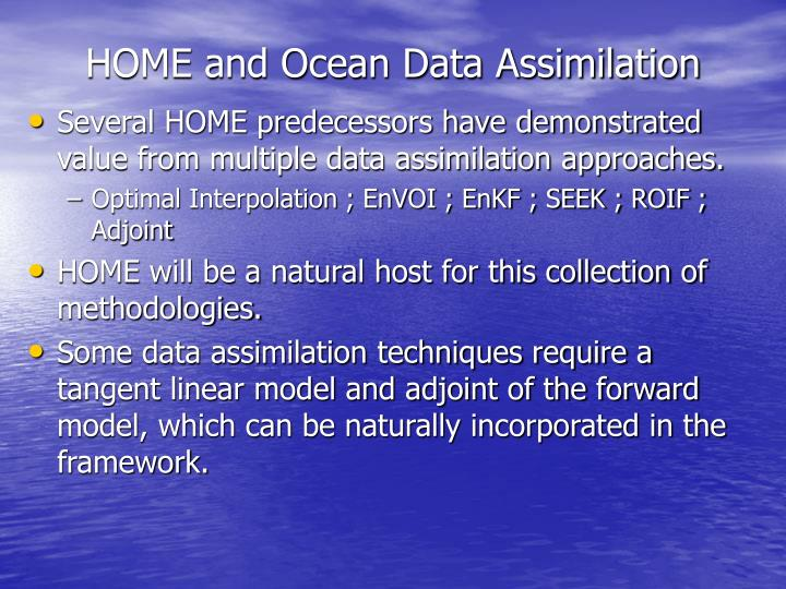 HOME and Ocean Data Assimilation