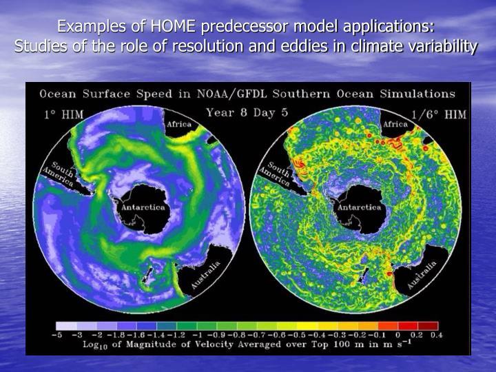 Examples of HOME predecessor model applications: