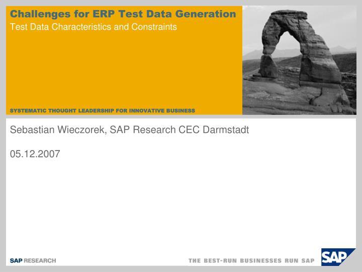 Challenges for erp test data generation test data characteristics and constraints