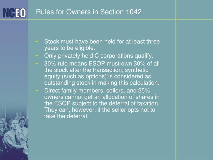 Rules for Owners in Section 1042