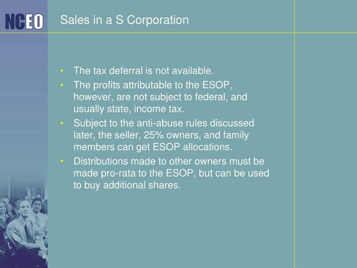 Sales in a S Corporation