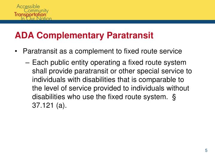 ADA Complementary Paratransit