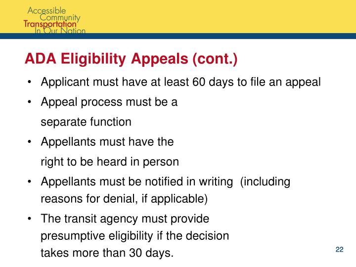 ADA Eligibility Appeals (cont.)