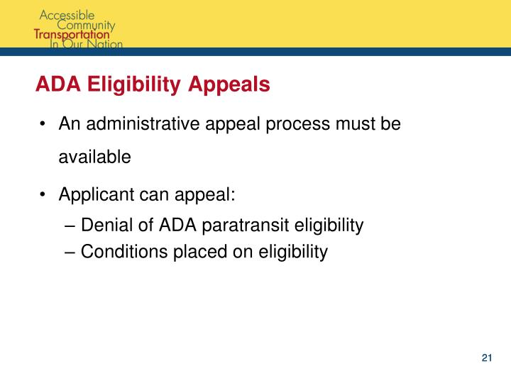 ADA Eligibility Appeals