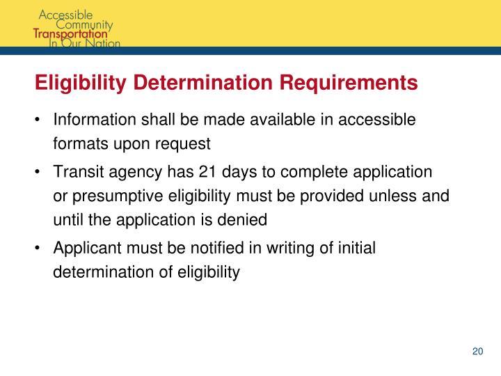 Eligibility Determination Requirements