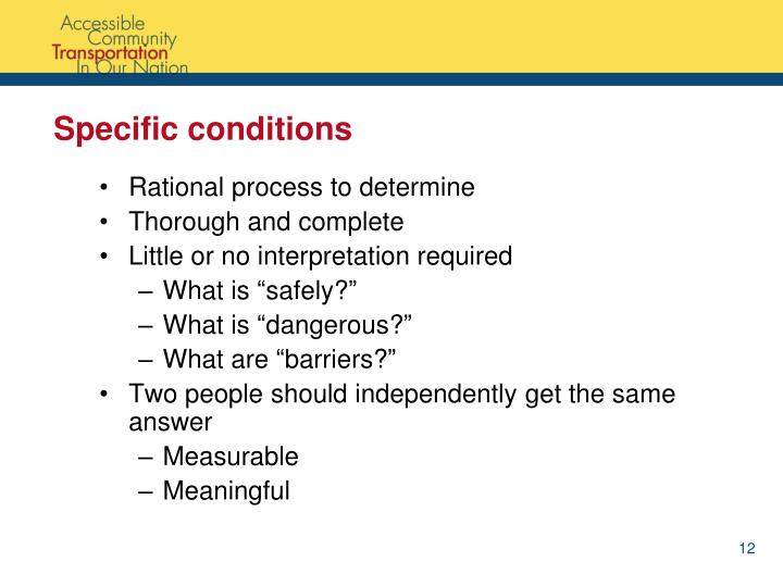 Specific conditions