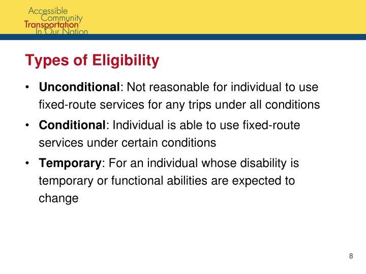 Types of Eligibility